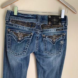Miss me bling boot cut flap pocket jeans 27
